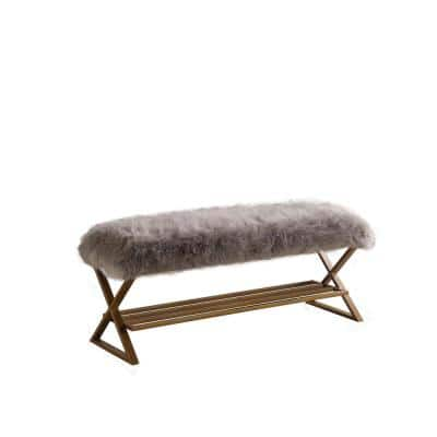 17 in. Hayley Gray Faux Fur Matte Gold Bench