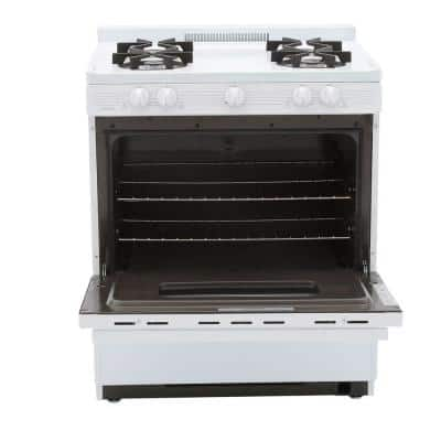 30 in. 3.91 cu. ft. Freestanding Battery Spark Ignition Gas Range in White