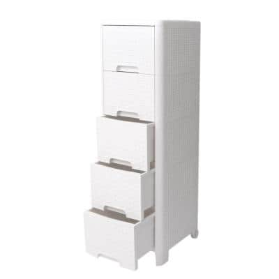 Rattan Style 5-Drawer Unit in Ivory