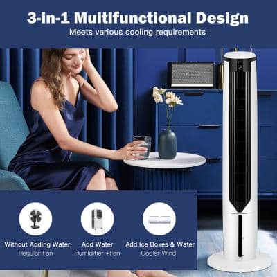 3-In-1 Tower Fan Humidifier 300 CFM 3-Speed Portable Evaporative Cooler For 100 sq. ft.