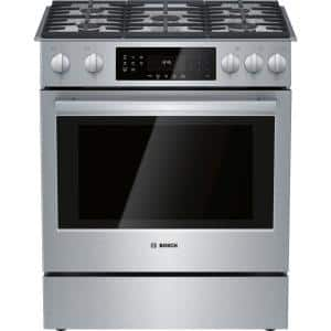 800 Series 30 in. 4.8 cu. ft. Slide-In Gas Range with Self-Cleaning Convection Oven in Stainless Steel