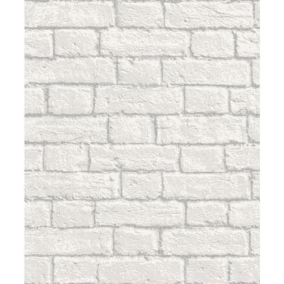 Ditmas White Brick Peelable Roll (Covers 56.4 sq. ft.)