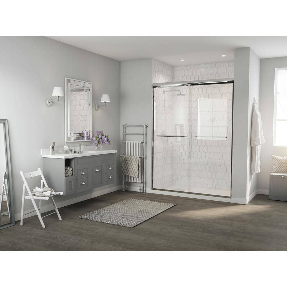 Coastal Shower Doors Paragon 1 4 Series 54 In X 71 In Semi Framed Sliding Shower Door With Curved Towel Bar In Chrome And Clear Glass 2854 71b C The Home Depot