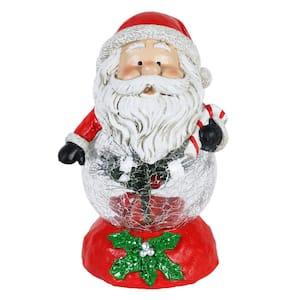 Christmas Colors LED Santa on Clear Ball Garden Statue
