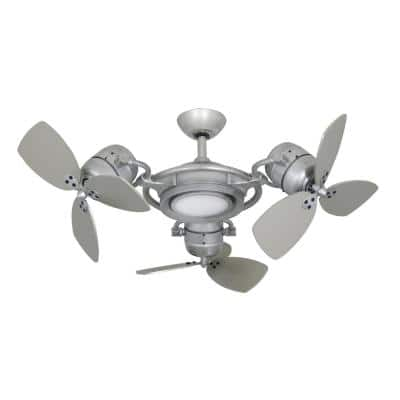 TriStar II 3 x 18 in. LED Brushed Nickel Triple Ceiling Fan and Light with Remote Control