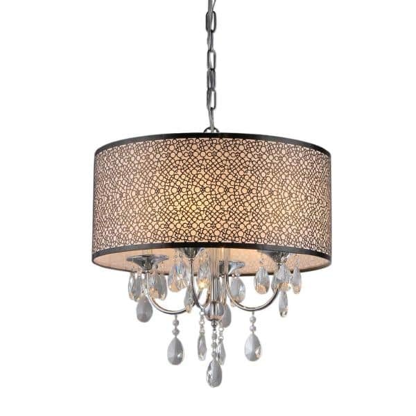 Warehouse Of Tiffany Lush 3 Light Chrome Chandelier With Shade Rl13224 The Home Depot
