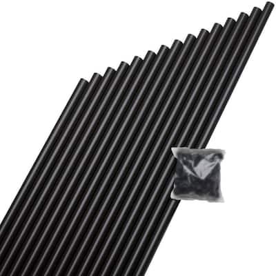 3/4 in. x 26 in. Black Aluminum Round Baluster (15-Pack)
