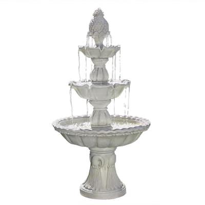 59 in. 3-Tier Welcome Outdoor Water Fountain
