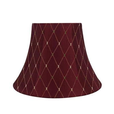 13 in. x 9.5 in. Burgundy with Gold Diamond Design Bell Lamp Shade