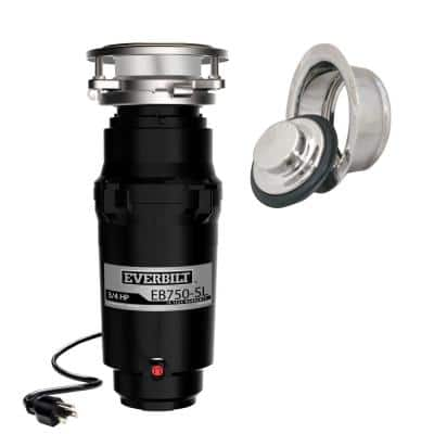Designer Series 3/4 HP Slim Continuous Feed Garbage Disposal with Polished Chrome Sink Flange and Attached Power Cord