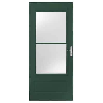 36 in. x 80 in. 400 Series Forest Green Universal Self-Storing Aluminum Storm Door with Nickel Hardware