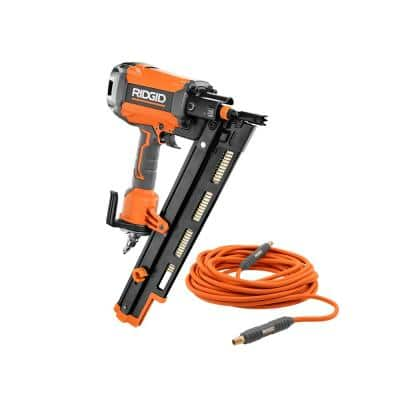Pneumatic 21-Degree 3-1/2 in. Round Head Framing Nailer with 1/4 in. 50 ft. Lay Flat Air Hose