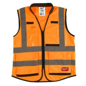 Performance Large/X-Large Orange Class 2-High Visibility Safety Vest with 15 Pockets