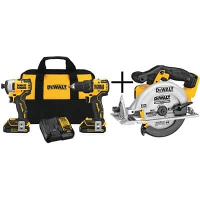 ATOMIC 20-Volt MAX Cordless Brushless Compact Drill/Impact Combo Kit (2-Tool) with 6-1/2 in. Circular Saw