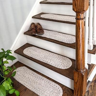 Ivory 8 in. x 28 in. Oval Stair Treads Braided Lefebvre Indoor/Outdoor