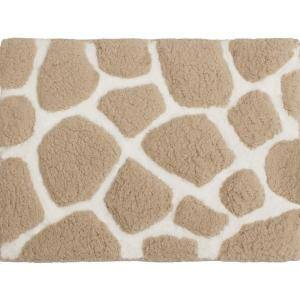 Super Plush Linen/White 20 in. x 32 in. Pebble Microfiber Bath Rug
