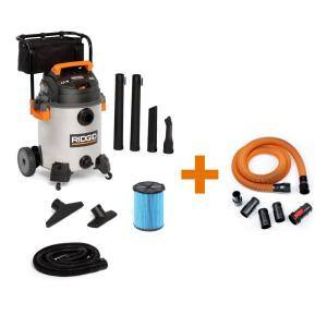 16 Gal. 6.5-Peak HP Stainless Steel Wet/Dry Shop Vac with Fine Dust Filter, 7 ft. Hose, 10 ft. Pro Hose and Accessories