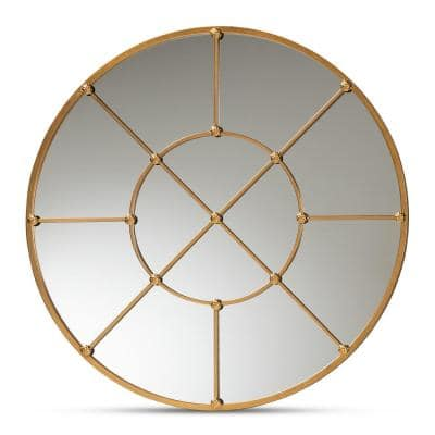 Ohara 36 in. x 36 in. Modern Round Metal Frame Gold Accent Mirror
