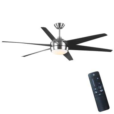 Windward 68 in. White Color Changing Integrated LED Outdoor Brushed Nickel Ceiling Fan with Light Kit and Remote Control