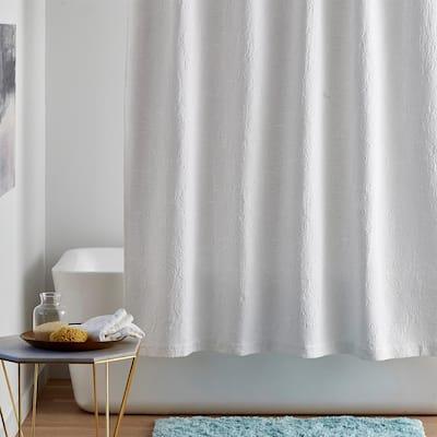 Putnam Matelasse 72 in. White Cotton Shower Curtain