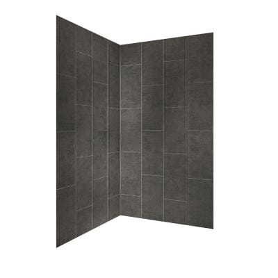 Jetcoat 42 in. x 78 in. 2-Piece Easy-Up Adhesive Neo-Angle Shower Surround in Slate