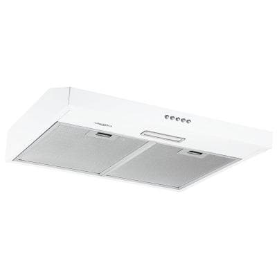 24 in. 110 CFM Convertible Under-Cabinet Range Hood in White with LED Lights