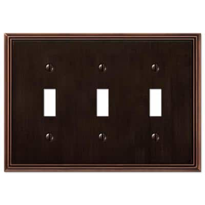 Rhodes 3 Gang Toggle Metal Wall Plate - Aged Bronze