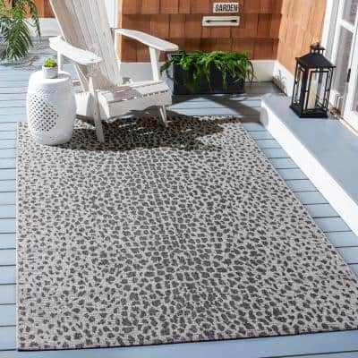 Courtyard Gray/Black 3 ft. x 3 ft. Cheetah Geometric Indoor/Outdoor Square Area Rug