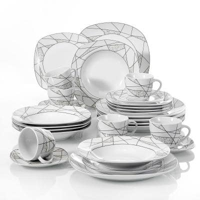 Series Serena 30-Piece White Porcelain Dinnerware sets of 6-Cups Saucers, 6-Dessert/Soup/ Dinner Plates (Service for 6)