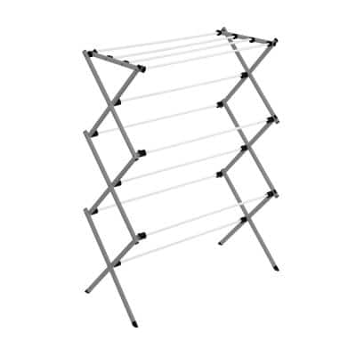29 in. W x 42.1 in. H Gray/White Steel Collapsible Clothes Drying Rack
