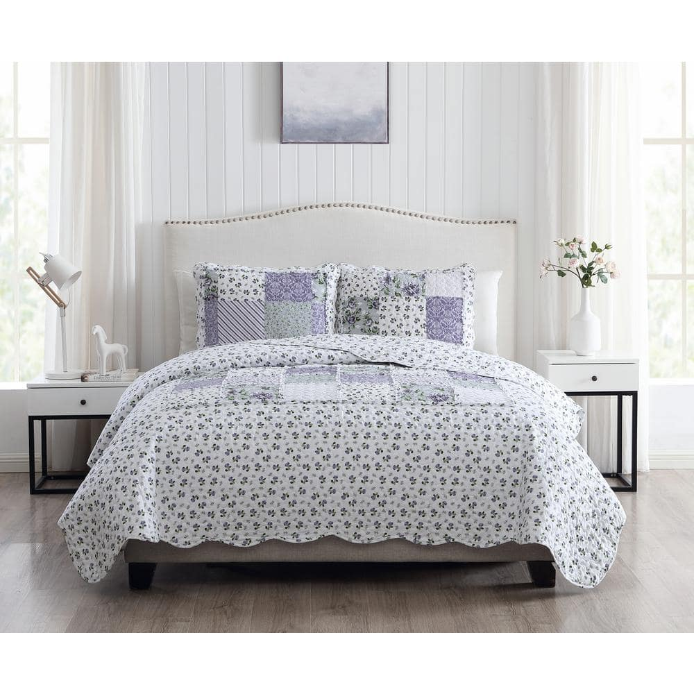 Morgan Home Brenna 3 Piece Lavender Full Queen Floral Patchwork Quilt Set M559396 The Home Depot