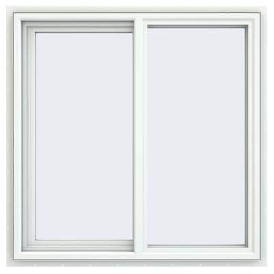 35.5 in. x 35.5 in. V-4500 Series White Vinyl Left-Handed Sliding Window with Fiberglass Mesh Screen