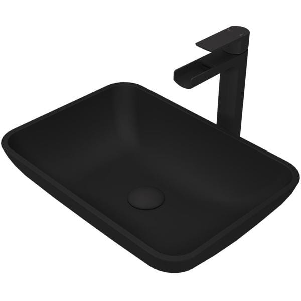 Vigo Matte Shell Sottile Glass Rectangular Vessel Bathroom Sink In Black With Amada Faucet And Pop Up Drain In Matte Black Vgt1428 The Home Depot
