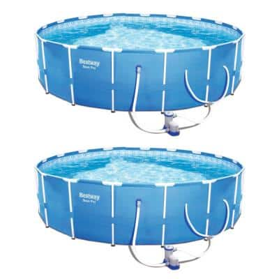 12 ft. Round by 30 in. D Steel Frame Hard Sided Above Ground Pool Set with Filter Pump (2-Pack)