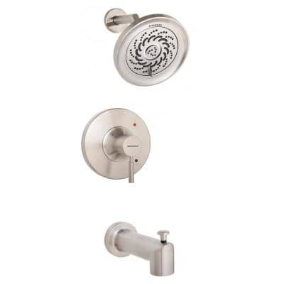 Neo 1-Handle Tub Shower Universal Trim Kit in Brushed Nickel with Exhilaration Showerhead (Valve Not Included)