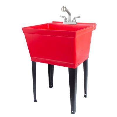 22.875 in. x 23.5 in. Thermoplastic Freestanding Red Utility Sink Tub with Non-Metallic Stainless Finish Pull-Out Faucet