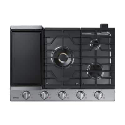 30 in. Gas Cooktop in Stainless Steel with 5 Burners including Dual Brass Power Burner with Wi-Fi