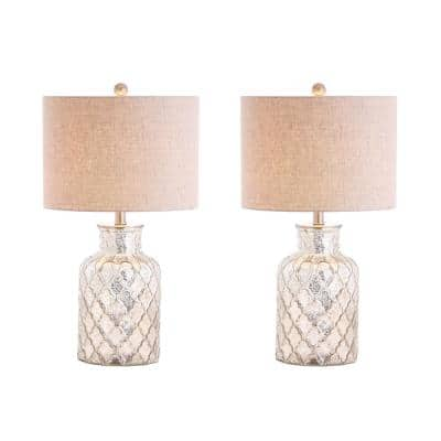 Alvord 24.5 in. Silver LED Glass Table Lamp (Set of 2)