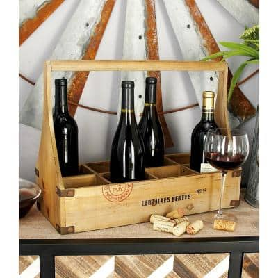 18 in. W x 14 in. H Exposed Oak Brown Rectangular 8-Bottle Wine Basket with Dowel Handle