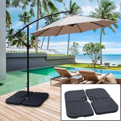 130 lbs. Capacity Weighted Cantilever and Offset Patio Umbrella Base in Black (4-Piece)