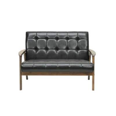 Masterpiece 44.8 in. Brown Faux Leather 2-Seater Loveseat with Wood Frame