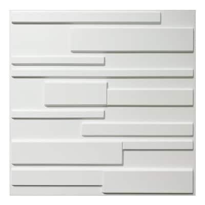 19.7 in. x 19.7 in. x 1 in. PVC Brick 3D Wall Panels in Matt White (12-Pack)