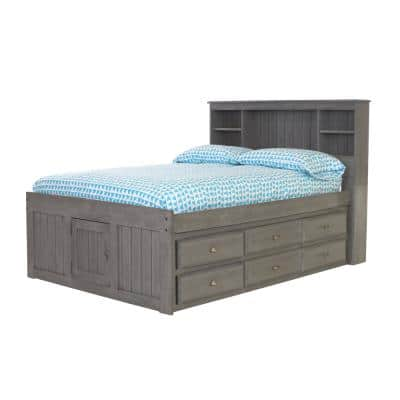 Charcoal Gray Series Full Size Platform Bed Charcoal Gray with 12-Drawers