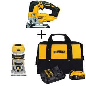 20-Volt MAX XR Cordless Brushless Jigsaw with Brushless Router, (1) 20-Volt 5.0Ah Battery & Charger