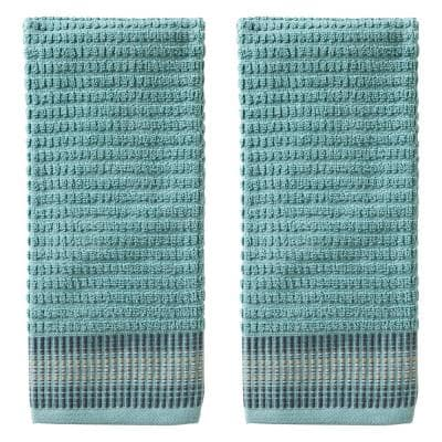 Water Stripe Teal 100% Cotton Hand Towel (2-Pack)
