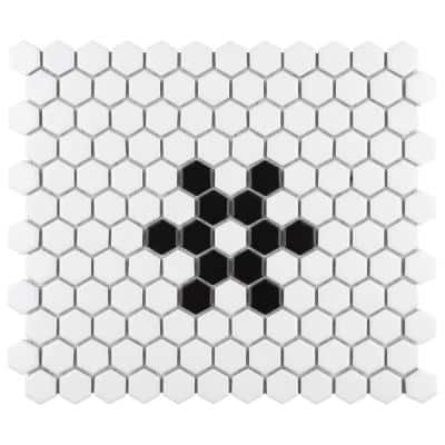 Metro Hex Matte White with Snowflake 10-1/4 in. x 11-7/8 in. Porcelain Mosaic Tile (8.65 sq. ft./Case)
