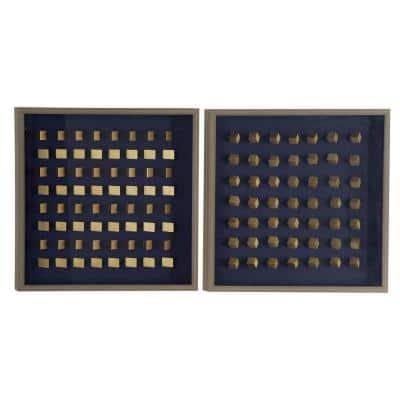 Geometric Gold Woodblocks in. Shadowbox, Set of 2, 24 in. x 24 in.