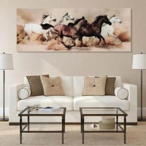 63 in. x 24 in. ''Stampede'' Frameless Free Floating Tempered Glass Panel Graphic Art