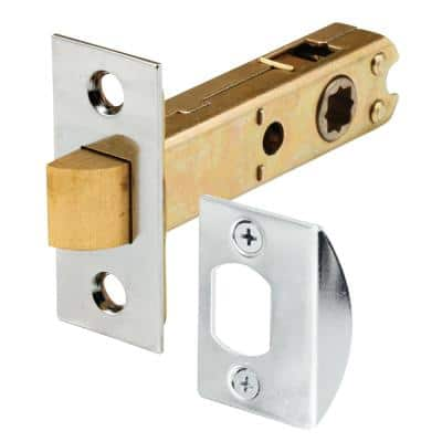 Passage Door Latch, 9/32 in. and 5/16 in. Square Drive, Steel, Chrome Finish