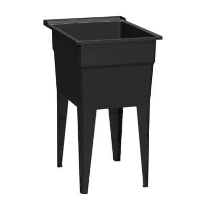 18 in. x 24 in. Recycled Polypropylene Black Laundry Sink